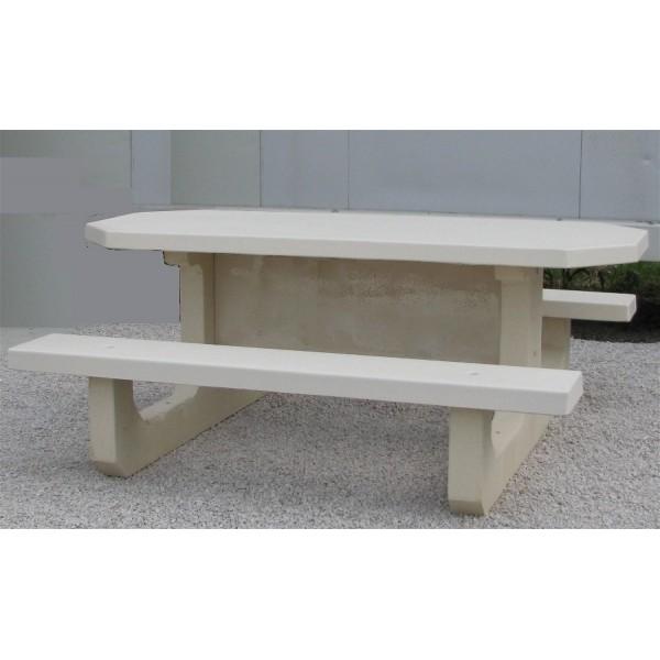 Table octogonale table de pique nique en b ton for Table exterieur octogonale