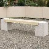 banquette douglas en beton avec pieds gravillons lame blanc naturel